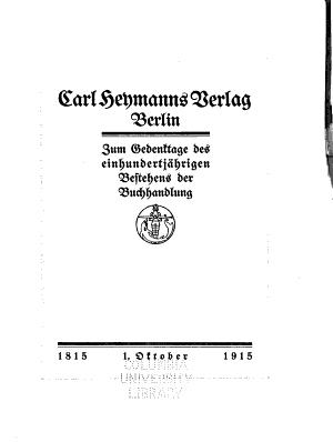 Carl Heymanns Verlag  Berlin  1815 1915  PDF