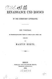 Renaissance und Rococo in der römischen Litteratur