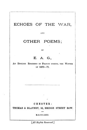 Echoes of the War and Other Poems PDF