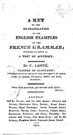 A key to the re-translation of the English examples in the French Grammar, etc