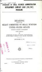 Oversight of Small Business Administration Development Company Loan  501 502  Programs PDF