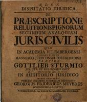 Disputatio juridica de praescriptione reluitionis pignorum secundum analogiam juris civilis