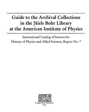 Guide to the Archival Collections in the Niels Bohr Library