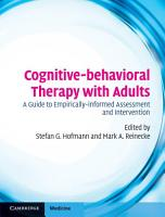 Cognitive behavioral Therapy with Adults PDF
