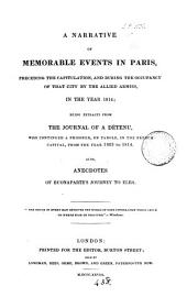 A narrative of memorable events in Paris ... in ... 1814