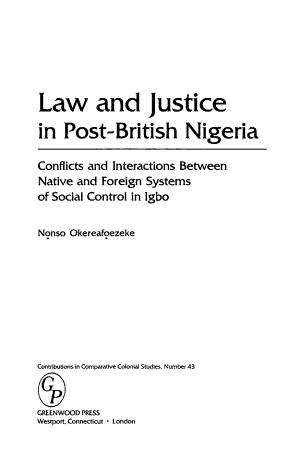 Law and Justice in Post British Nigeria PDF