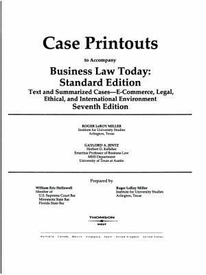 Case Printouts Bus Law Today