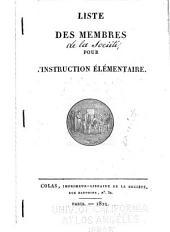 Liste des membres pour l'instruction élémentaire