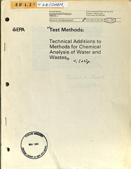Technical Additions to Methods for Chemical Analysis of Water and Wastes PDF