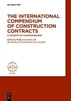 The International Compendium of Construction Contracts PDF