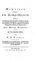 Memoiren   ber die Tempelherren  etc   PDF