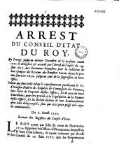 Arrest du Conseil d'Etat du roy, qui proroge jusqu'au dernier decembre de la presente année 1720. le delay fixé & accordé par l'arrest du Conseil du 19. juin 1717. aux oeconomes-sequestres pour la reddition de leurs comptes des revenus des benefices vacans depuis le premier janvier 1692. jusqu'au jour de la suppression de leurs offices. Ordonne que dans ledit délay ils representeront pardevant le Sr. d'Ormesson...leurs titres de propriété desdits offices... Du 6. aoust 1720. Extrait des registres du Conseil d'Etat