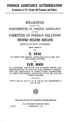 Foreign Assistance Authorization, Examination of U.S. Foreign Aid Programs and Policies