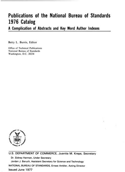 Publications of the National Institute of Standards and Technology     Catalog PDF