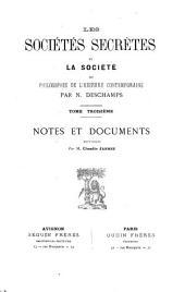 Les sociétés secrètes et la société, ou, Philosophie de l'histoire contemporaine: Volume3