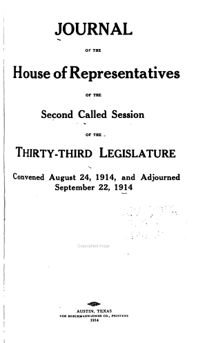 Journal of the House of Representatives of the ... Session of the ... Legislature of Texas