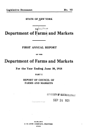 Annual Report of the Department of Farms and Markets for the Year Ending ...: Part 1