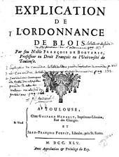 Explication de l'Ordonnance de Blois
