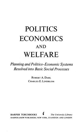 Politics Economics and Welfare  PDF