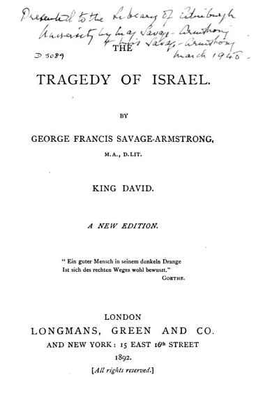 Download The Tragedy of Israel    Book