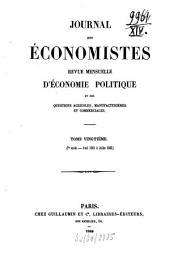Journal des économistes: revue bimensuelle de la science économique et de la statistique, Volume20