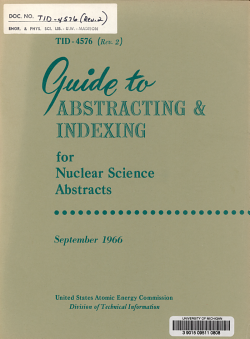 Guide to Abstracting and Indexing for Nuclear Science Abstracts PDF