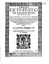 Theses ex tt. FF. et C. de restitutione minorum