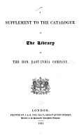 A Catalogue Of The Library Of The Hon East India Company