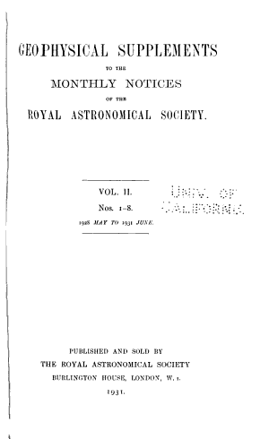Geophysical Supplements to the Monthly Notices of the Royal Astronomical Society