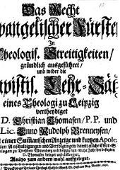 Das Recht Evangelischer Fürsten In Theologischen Streitigkeiten