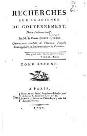 Recherches sur la science du gouvernement ...