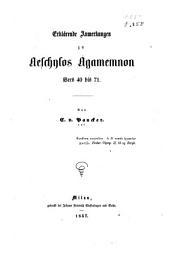 Erklärende anmerkungen zu Aeschylos Agamemnon vers 40 bis 71