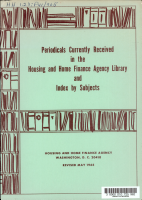 Periodicals Currently Received in the Housing and Home Finance Agency Library and Index by Subjects PDF