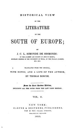 Historical View of the Literature of the South of Europe PDF