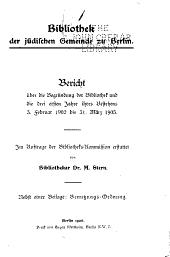 Bericht über die Begründung der Bibliothek: und die drei ersten Jahre ihres Bestehens 3. Februar 1902 bis 31. März 1905