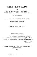 The Lusiad; or, The discovery of India, tr. by W.J. Mickle