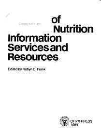 Directory Of Food And Nutrition Information Services And Resources