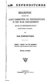 War Expenditures: Pts-13 inclusive except pt.9