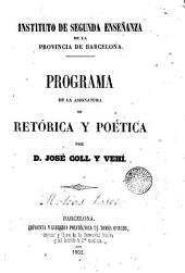 Programa de la asignatura de retórica y poética