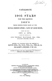 Catalogue of 1905 stars for the equinox 1865·0 from observations made at the Royal observatory: Cape of Good Hope, during the years 1861 to 1870
