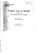 Download Union List of Serials in Libraries of the United States and Canada Book