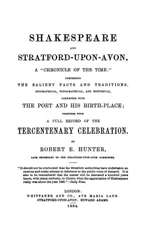 Shakespeare and Stratford upon Avon  with a record of the tercentenary celebration