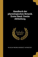 Handbuch Der Physiologischen Botanik  Erster Band  Zweite Abtheilung  PDF