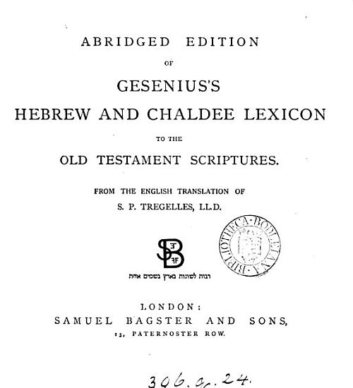 Abridged edition of Gesenius s Hebrew and Chaldee lexicon to the Old Testament scriptures  from the Engl  tr  of S P  Tregelles PDF