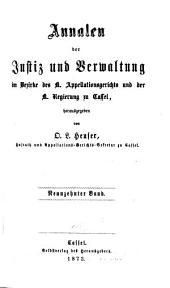 Annalen der Justizpflege und Verwaltung in Kurhessen: Band 19