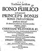 Tractatus iur. de bonum publicum: an et quomodo princeps bonus bonis privatorum praeferre debeat?