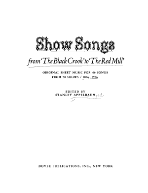 Show Songs  from  The Black Crook  to  The Red Mill  PDF