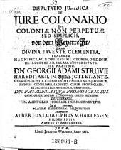 De jure colonario. Von dem Meyerrecht. resp. Alberto Ludolpho Harlessen. - Jenae, Werther 1666