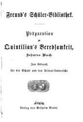 Präparation zu Quintilian's Beredsamkeit, zehntes Buch