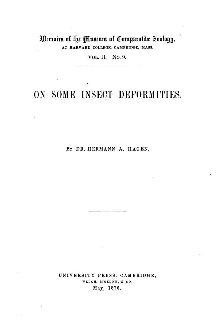 On Some Insect Deformities